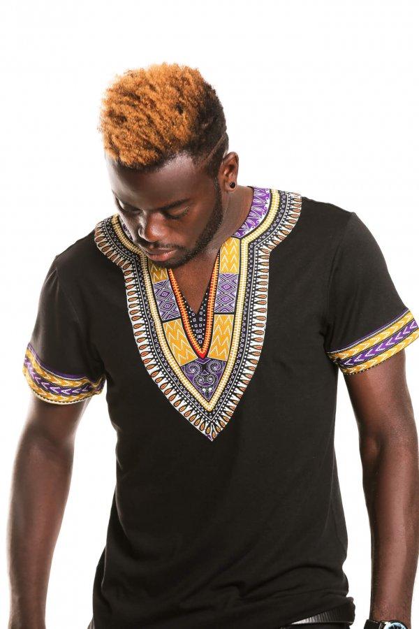 Dashiki Print T-shirt-Black